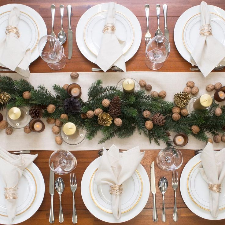 "Table Runner on Instagram: ""Here's our Golden Rustic Christmas theme with beautiful Australian pine cones. Get this homely setting on our website"""