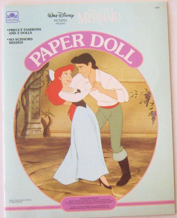 Disney The Little Mermaid Paper Dolls Golden Book UNCUT Vintage 1991