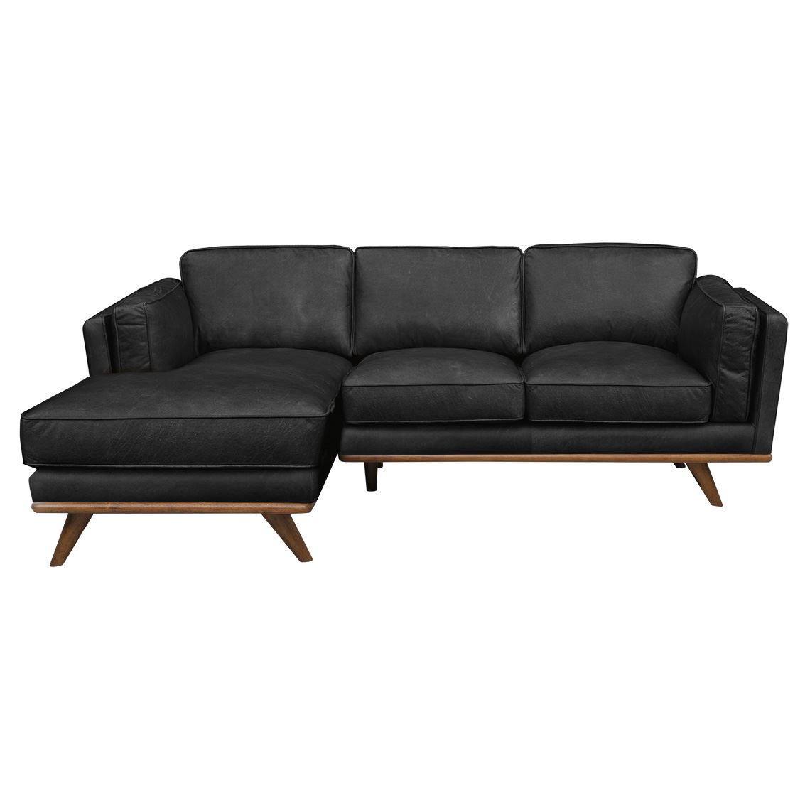 Dahlia 2 Seat Leather Modular Sofa With Right Chaise