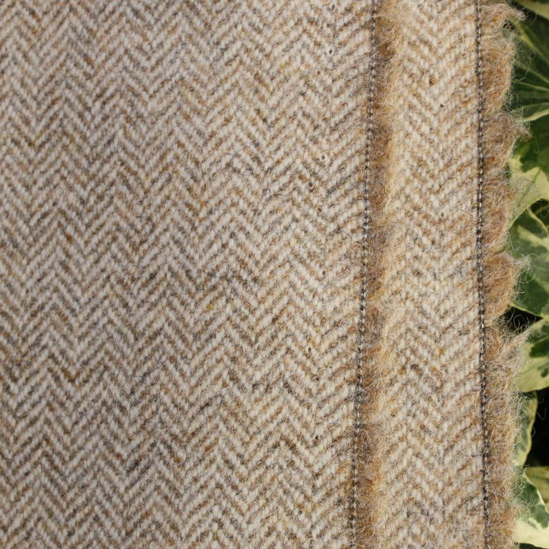 Wool Tweed Curtain Upholstery Fabric Herringbone Weave Driftwood