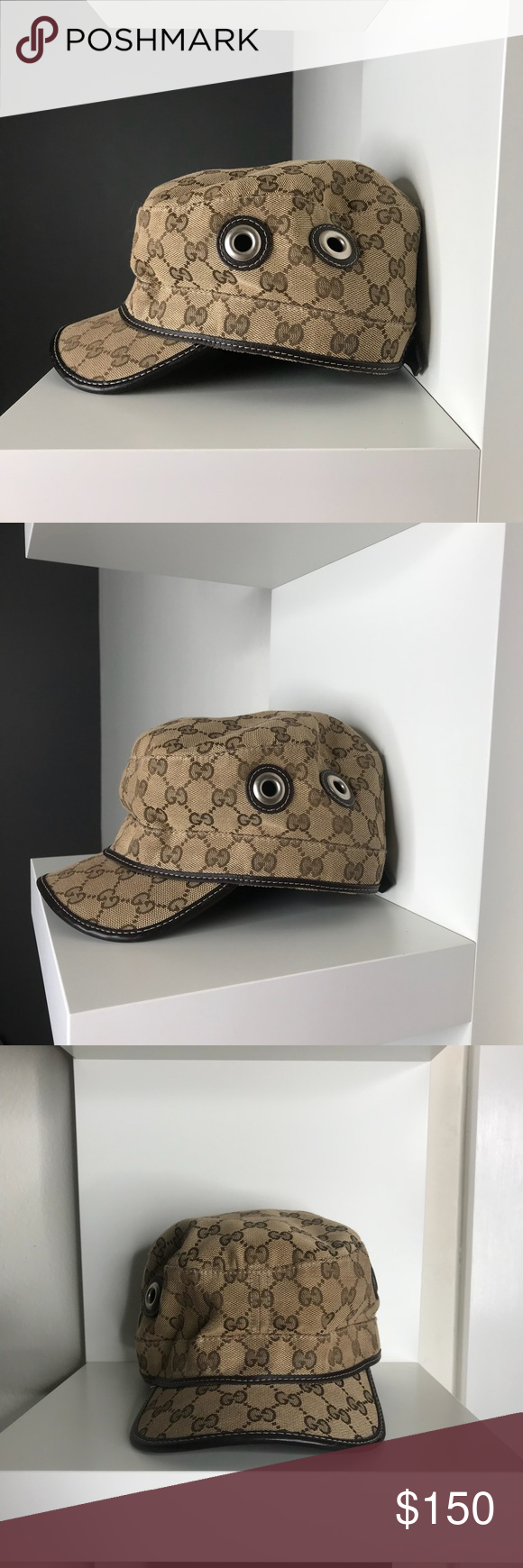 Authentic GUCCI beige GG canvas MILITARY hat - L 100% Authentic GUCCI beige  L Original d28ad7d62dae