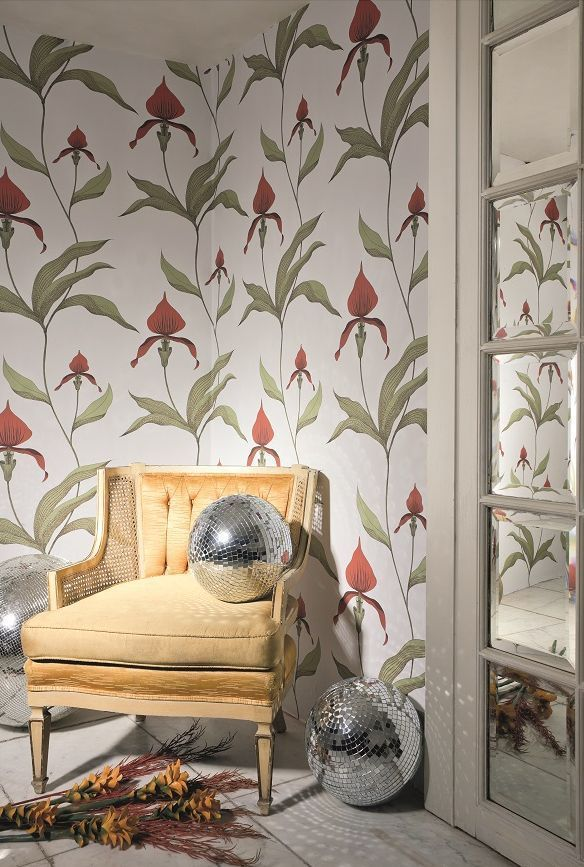 Orchid by Cole & Son - Brown / Coral / Cream - Wallpaper