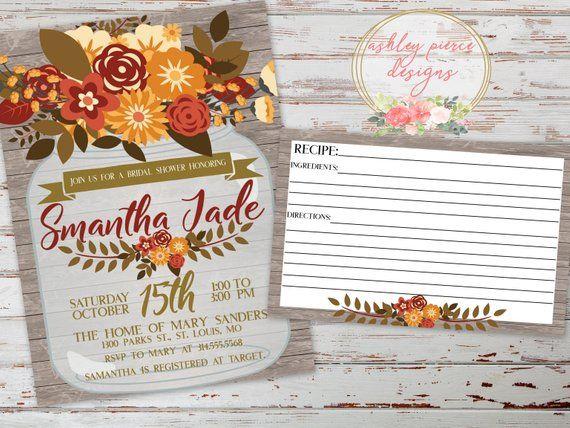 bfee2eb1050b Rustic Fall Bridal Shower Invitation