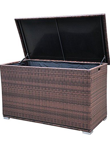 Deck Boxes 52 Deck Storage Box Pe Aluminum Frame Rattan