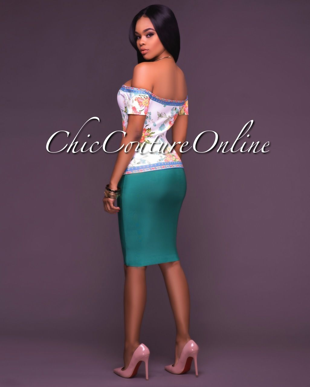 Chic Couture Online - Lizeth Emerald Green Elastic Body-Con Skirt ...
