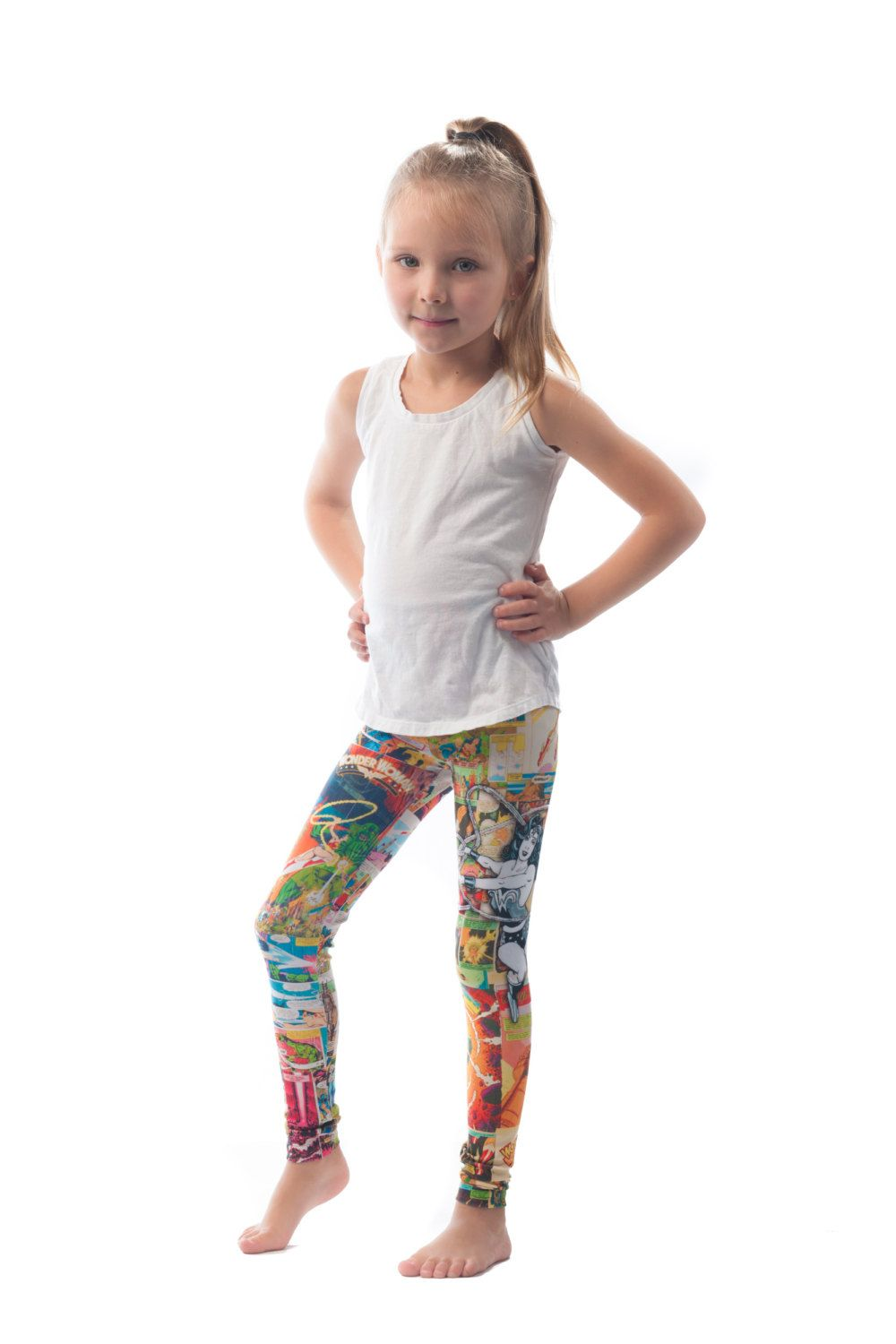 Wonder Woman Kids Leggings, Printed Girls Bright Comic -5606