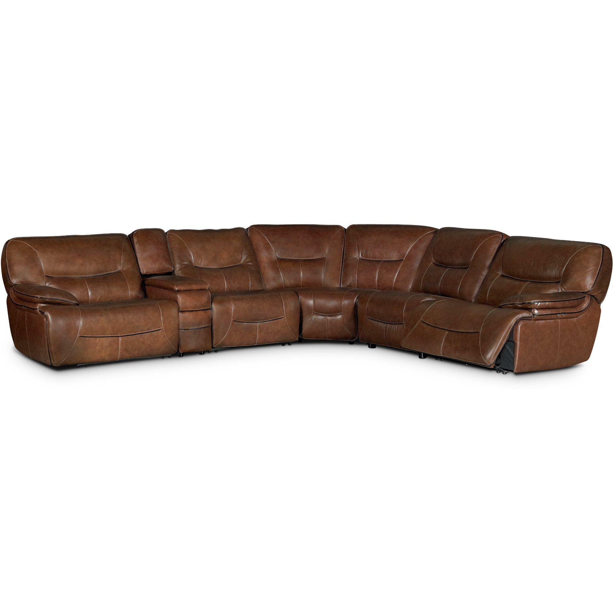 Brown leathermatch power reclining sectional sofa max