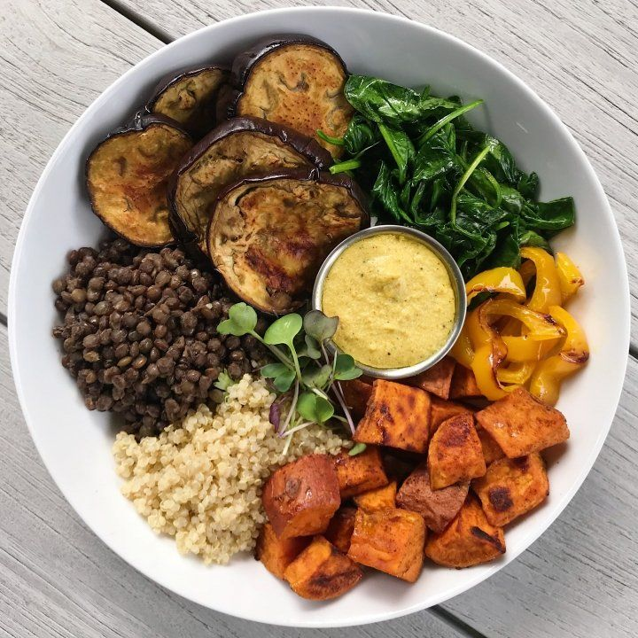 Photo of Roasted Veggie Lentil Bowl with Cashew Cream Curry Sauce