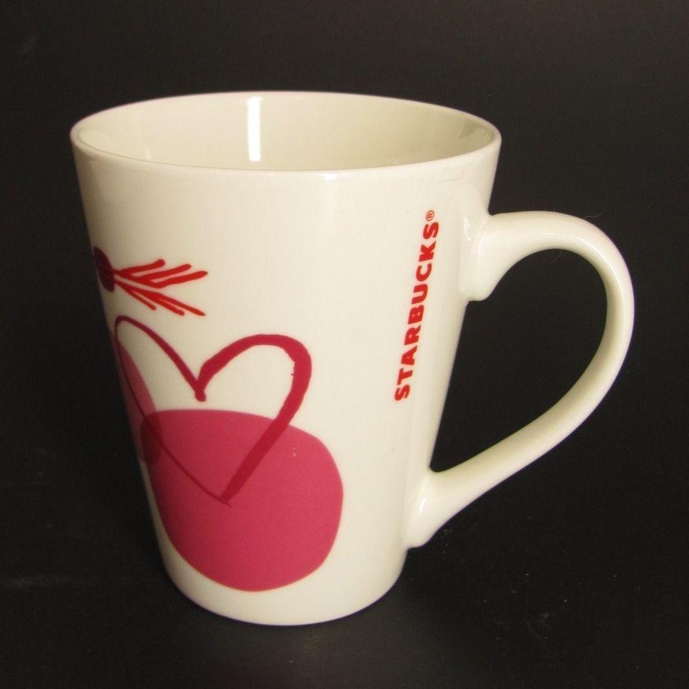 Starbucks Coffee Mug Hearts Arrow Love Valentine White