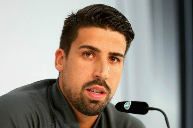 Sami Khedira speaks at the German National Team press conference in Switzerland on May 31, 2016...