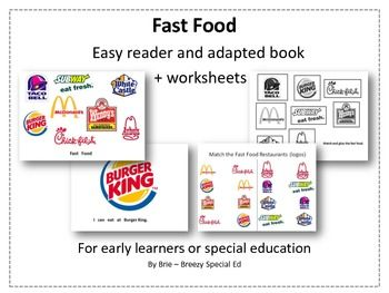 Environmental Print: Fast Food adapted book & worksheets {Autism ...