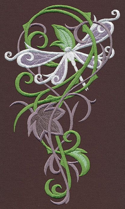 embroidered flowers with dragon flies | ... Dragonfly Cascade | Urban Threads: Unique and Awesome Embroidery