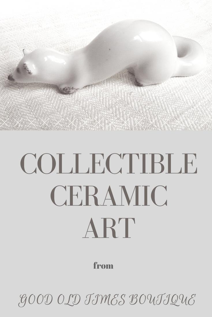 White Ermine Sculpture Stoat Figurine Miniature Ceramic