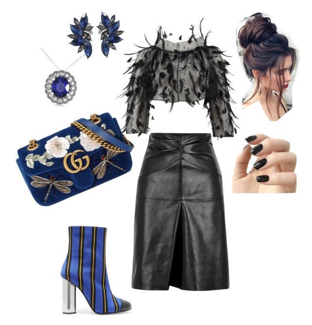 """Blues"" by misha-rena on Polyvore featuring Marco de Vincenzo, Isabel Marant, Oscar de la Renta, Gucci, Allurez, Masquerade and Incoco"