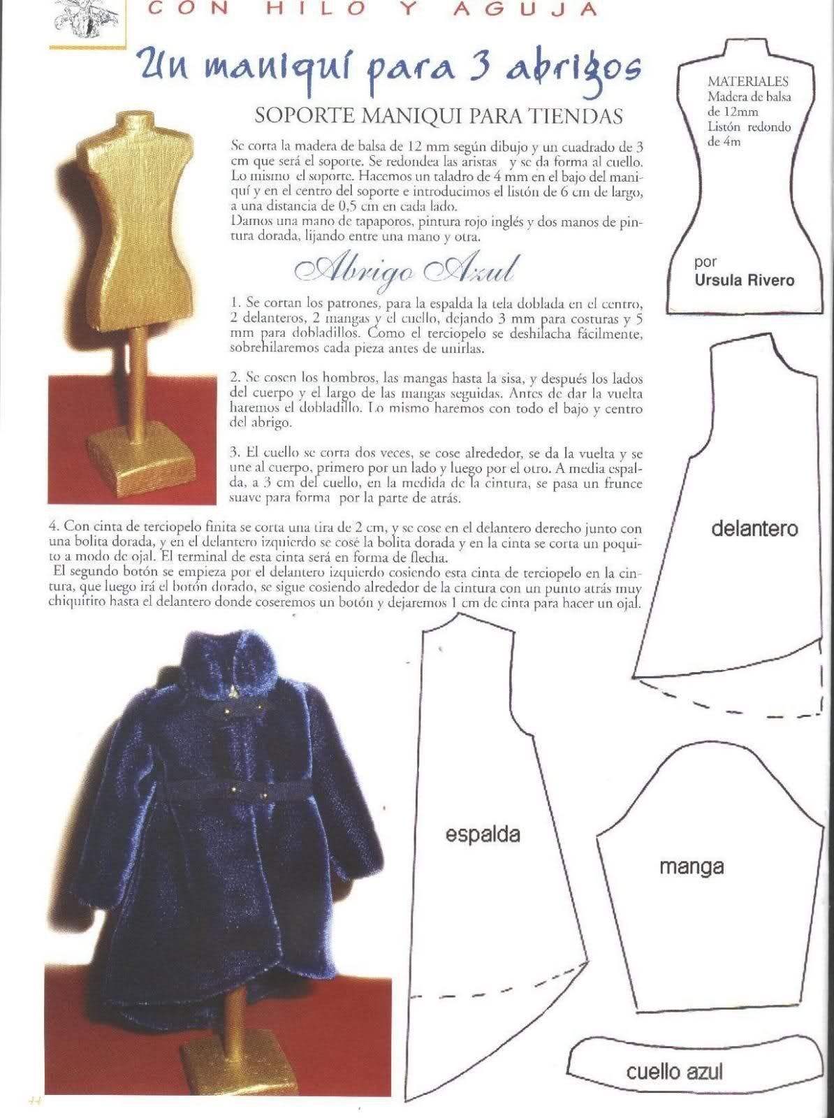 Coat pattern - Spanish   doll clothes   Pinterest   Abrigos ...