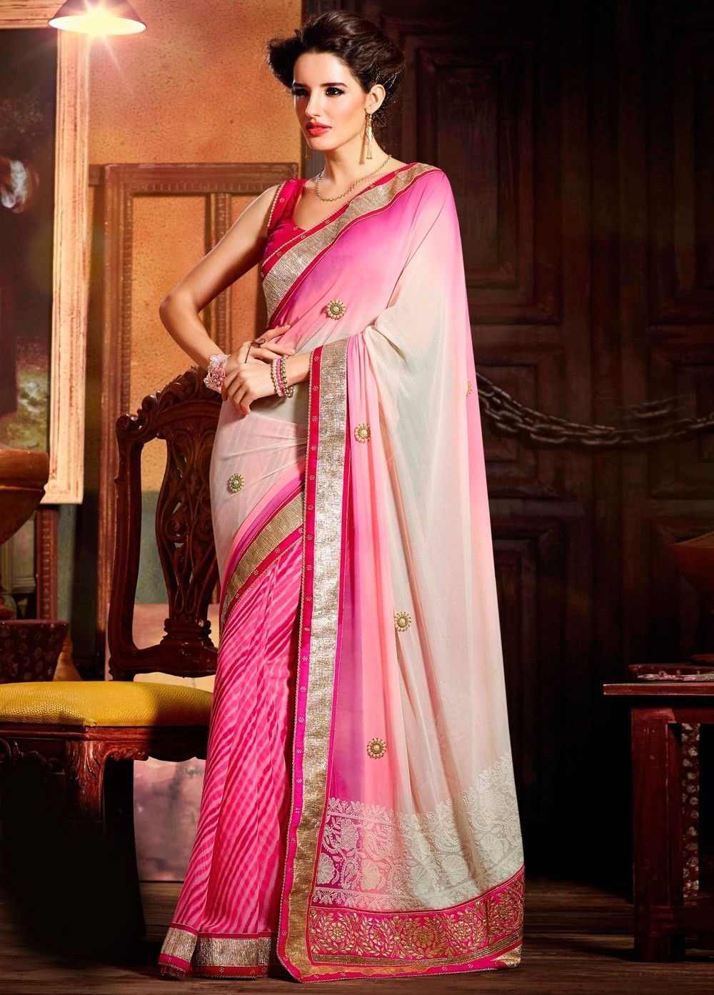 f81ecadb1e67f2 Beautiful Pink Color Border Work Party Wear Saree With Blouse From Skysarees .