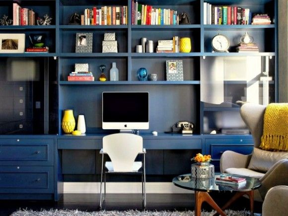 Blue Bookcase on the shelf :: blue bookcases | hgtv, shelves and spaces