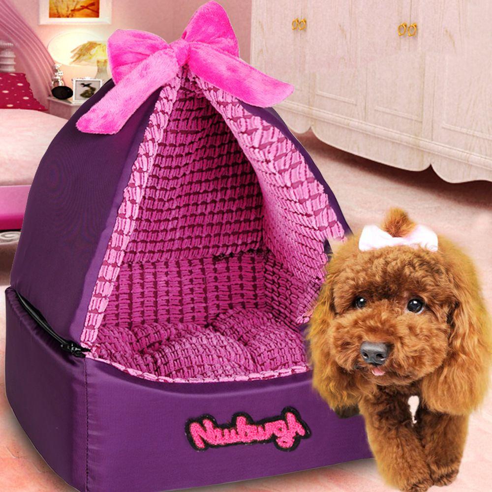 European Princess Puppy Cat Dog Tent All Season Purple Bed