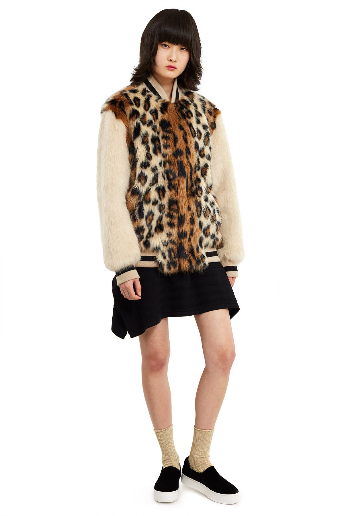 Opening Ceremony Faux Fur Varsity Jacket Faux Fur Leopard Print Front Snap Button Closures Slanted Front Pocke Fashion Opening Ceremony Outerwear Jackets [ 1800 x 1200 Pixel ]