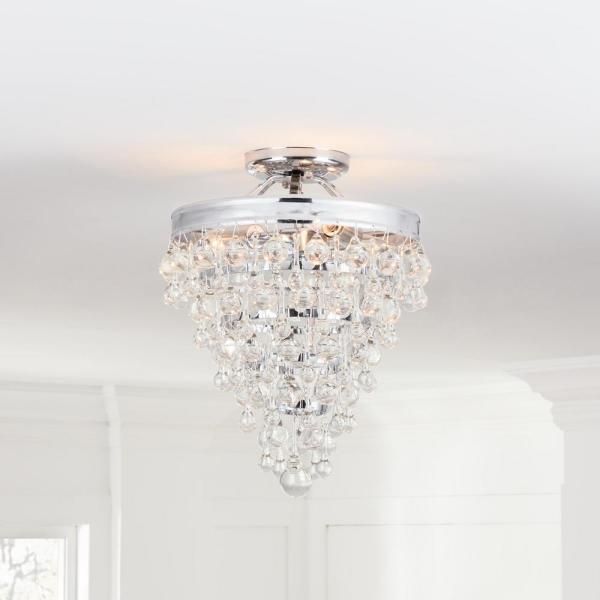 Home Decorators Collection 3-Light Chrome Crystal Semi ...