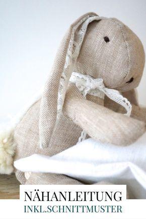 Photo of Hasenkind selbernähen, Schnittmuster für einen Stoffhasen aus Leinen