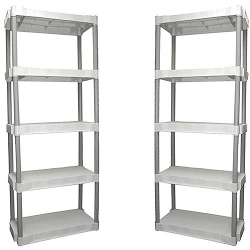 Walmart Utility Shelves 2Pack Plano 5Shelf Storage Unit Light Taupe Storage