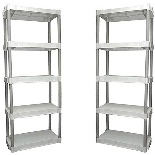 2 Pack Plano 5 Shelf Storage Unit Light Taupe Storage