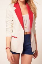 White Contrast Collar and Pockets Long Sleeve Boyfriend Suit $32.32
