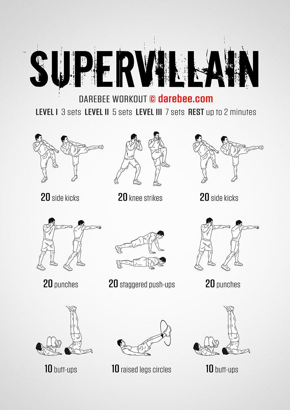 Supervillain PDF free full body workout by Darebee Boxer