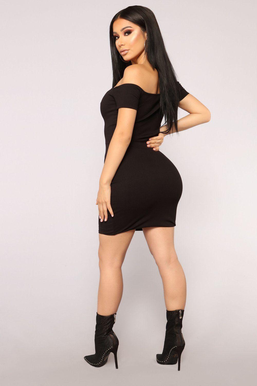 Let it Happen Off Shoulder Dress Black Dresses