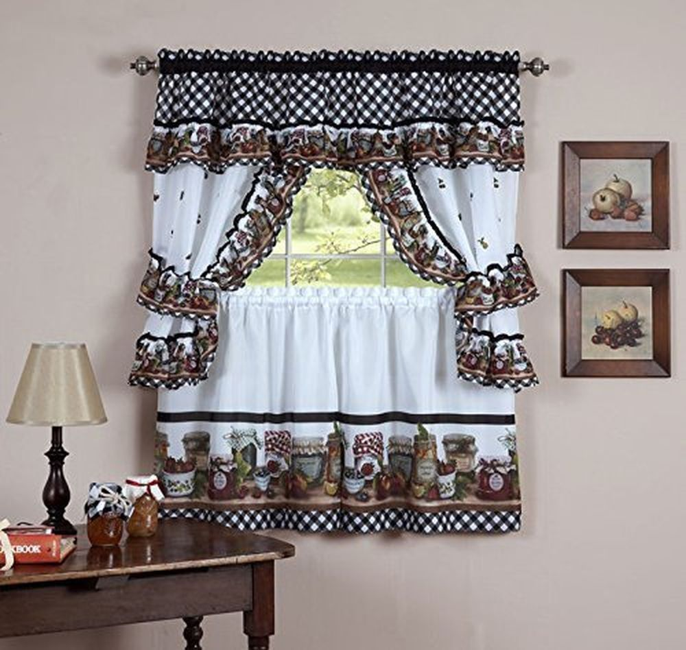 Kitchen Window Valance And Swag Country Styles Curtain Set 24 Inch