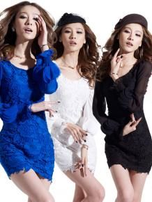 Wholesale Three Colors O-Neck Long Sleeve Lace Dresses