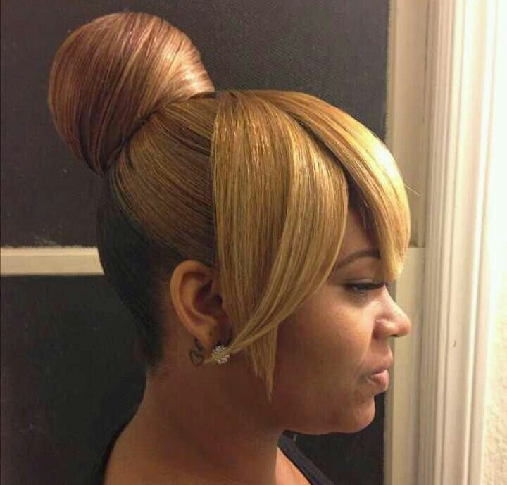 Bun And Bangs Medium Hair Styles Natural Hair Styles Ponytail Hairstyles