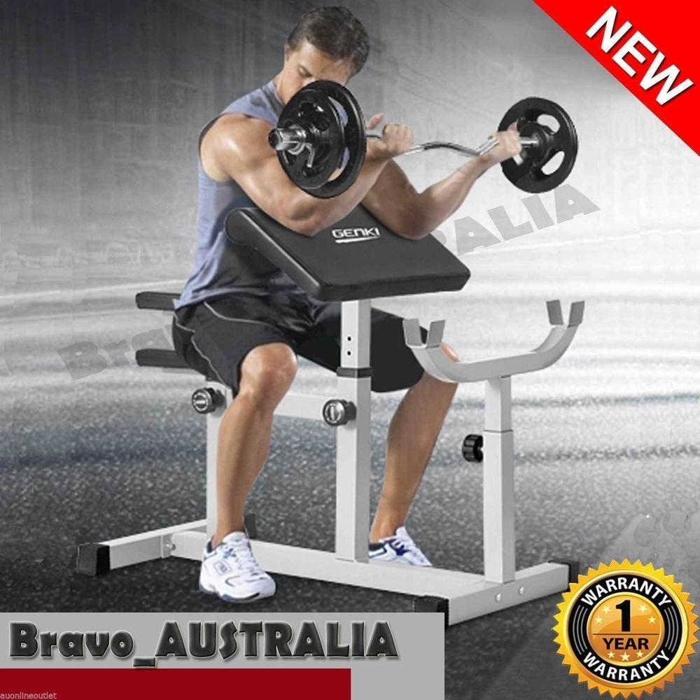 Preacher Curl Weight Bench Fully Adjustable Fitness Home ...