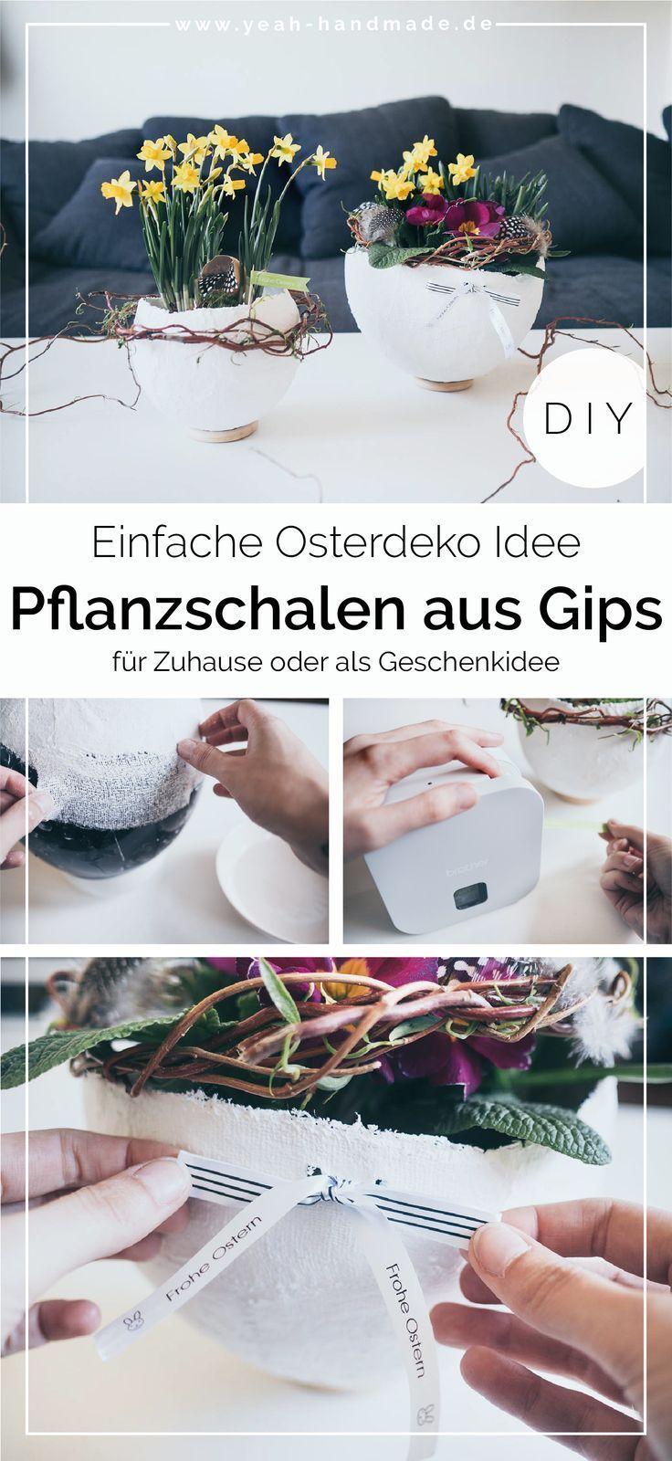[Werbung] Blumentopf aus Gips selber machen als Oster Deko mit Brother • Yeah Handmade