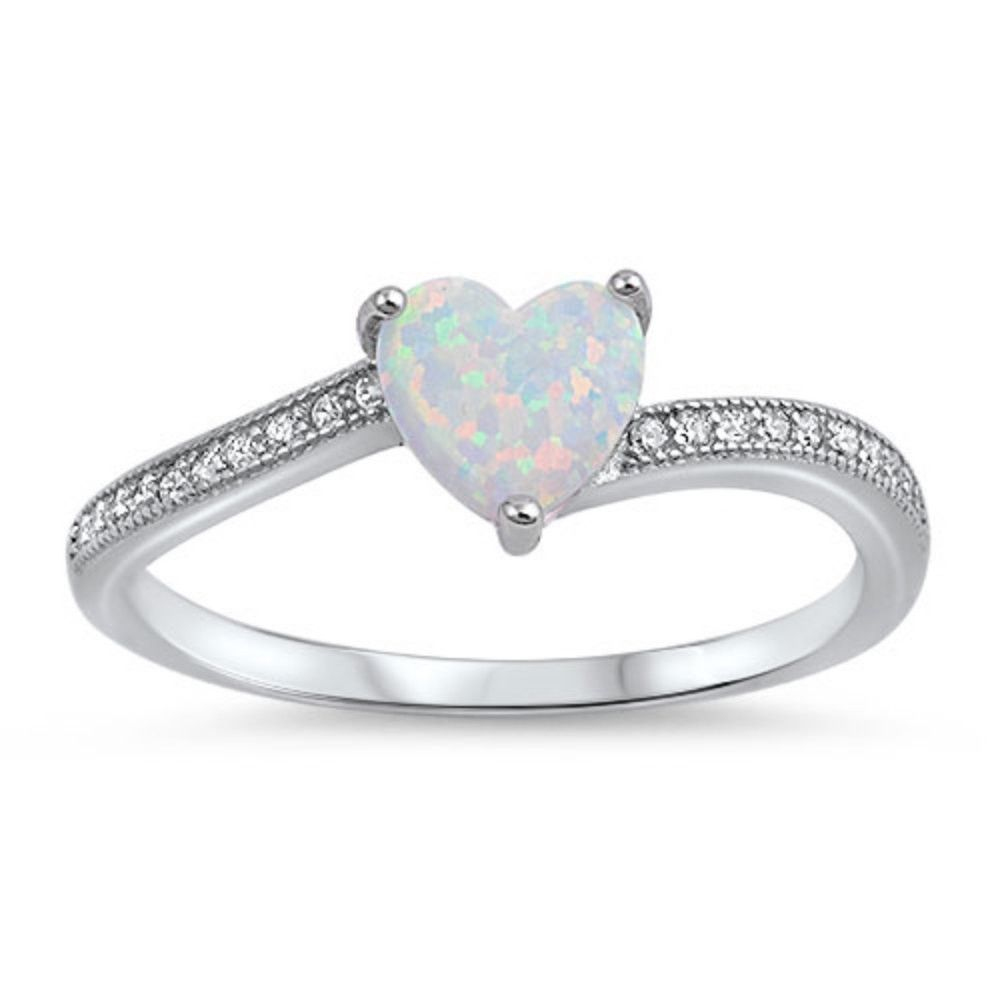 Blue Apple Co 925 Sterling Silver Oval Cut Created White Opal Ring Rose Tone Rhodium Plated Round Clear CZ