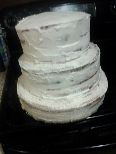 Three tier cake crumb coated.  Cake is vanilla tye dye with white chocolate raspberry filling.   White chocolate frosting will be the next coat.   Wickedsweettreats413@gmail.com