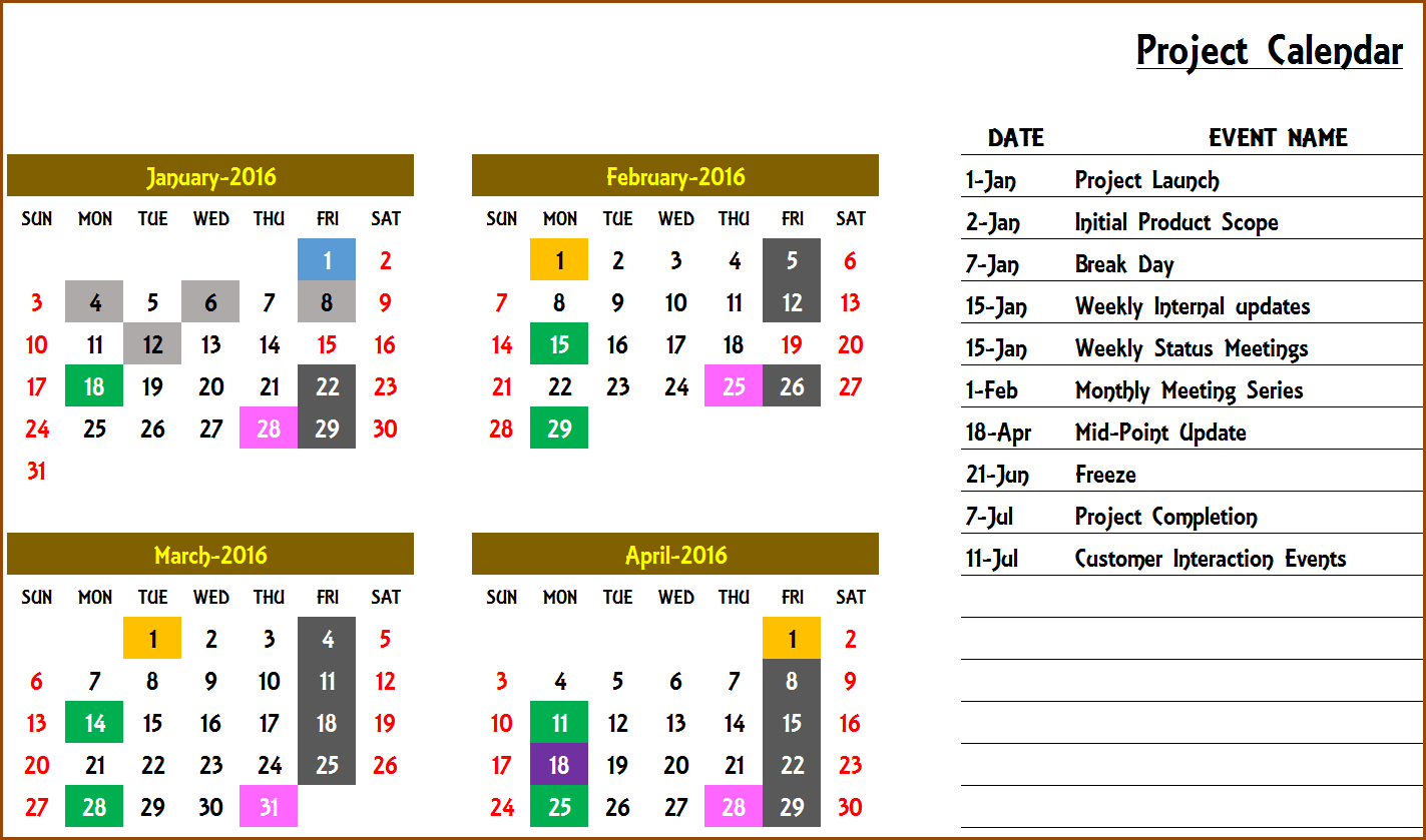 Events Calendar 2020.Excel Calendar Template Excel Calendar 2019 2020 Or Any