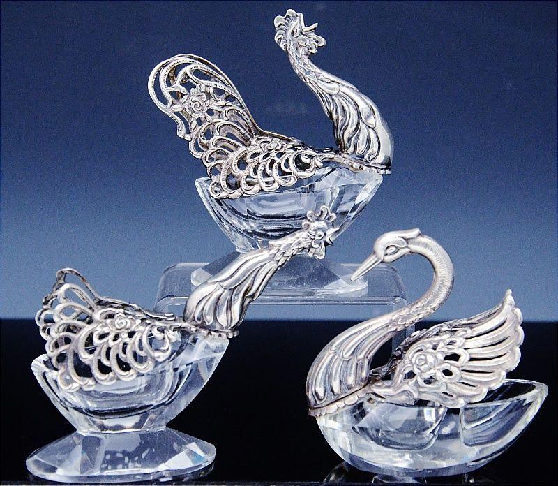 3 FINE STERLING SILVER CUT CRYSTAL GLASS FIGURAL SWAN CHICKEN SALT CELLAR BOWLS
