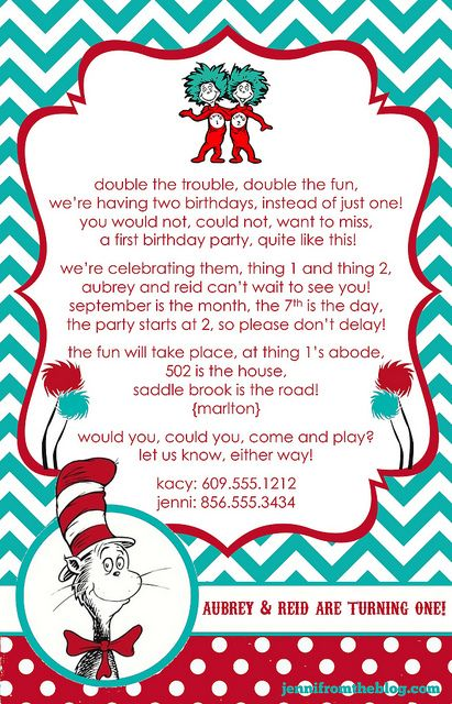Thing 1 2 Dr Seuss Invites I Designed For Reid Aubs 1st Birthday