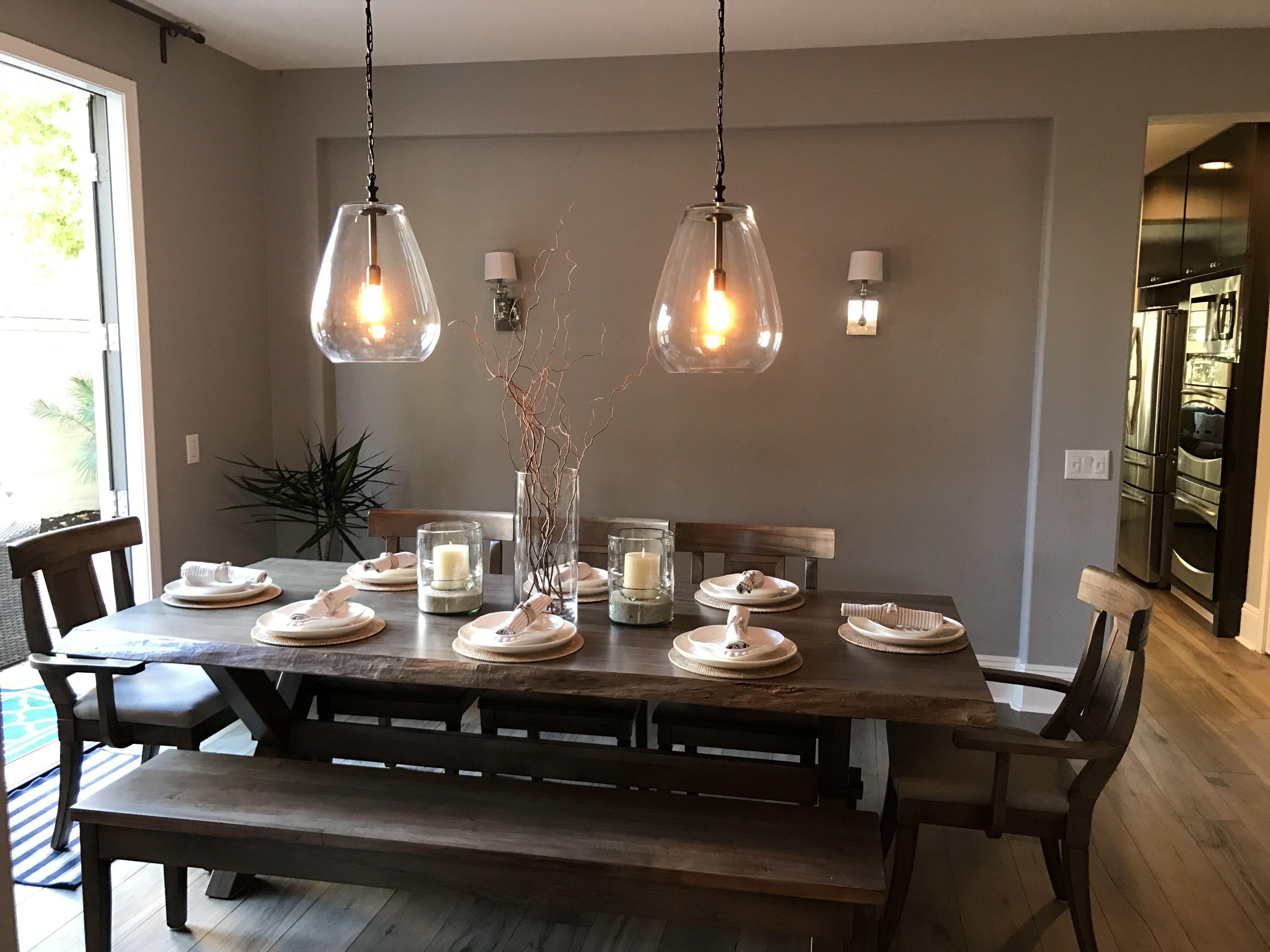 Bassett live edge dining table pottery barn place setting