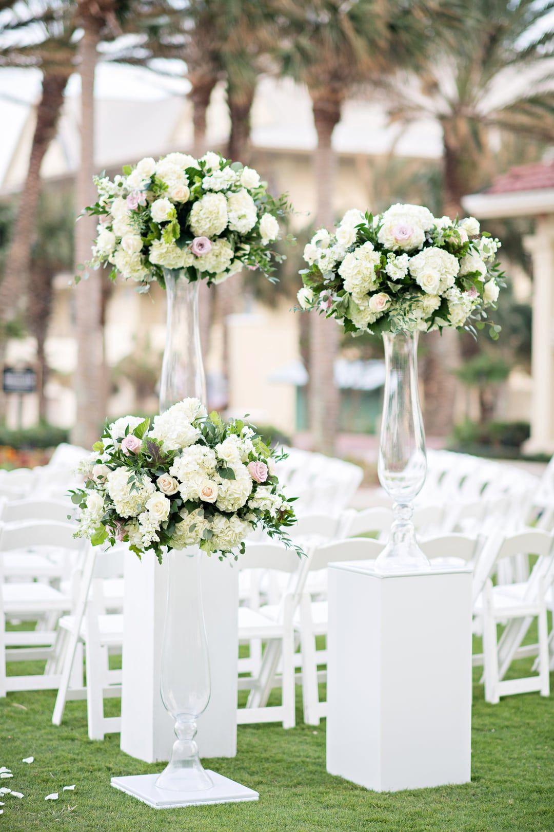 Elegant White Fl Arrangements For An Oceanside Wedding Ceremony At Hammock Beach Resort In Palm Coast