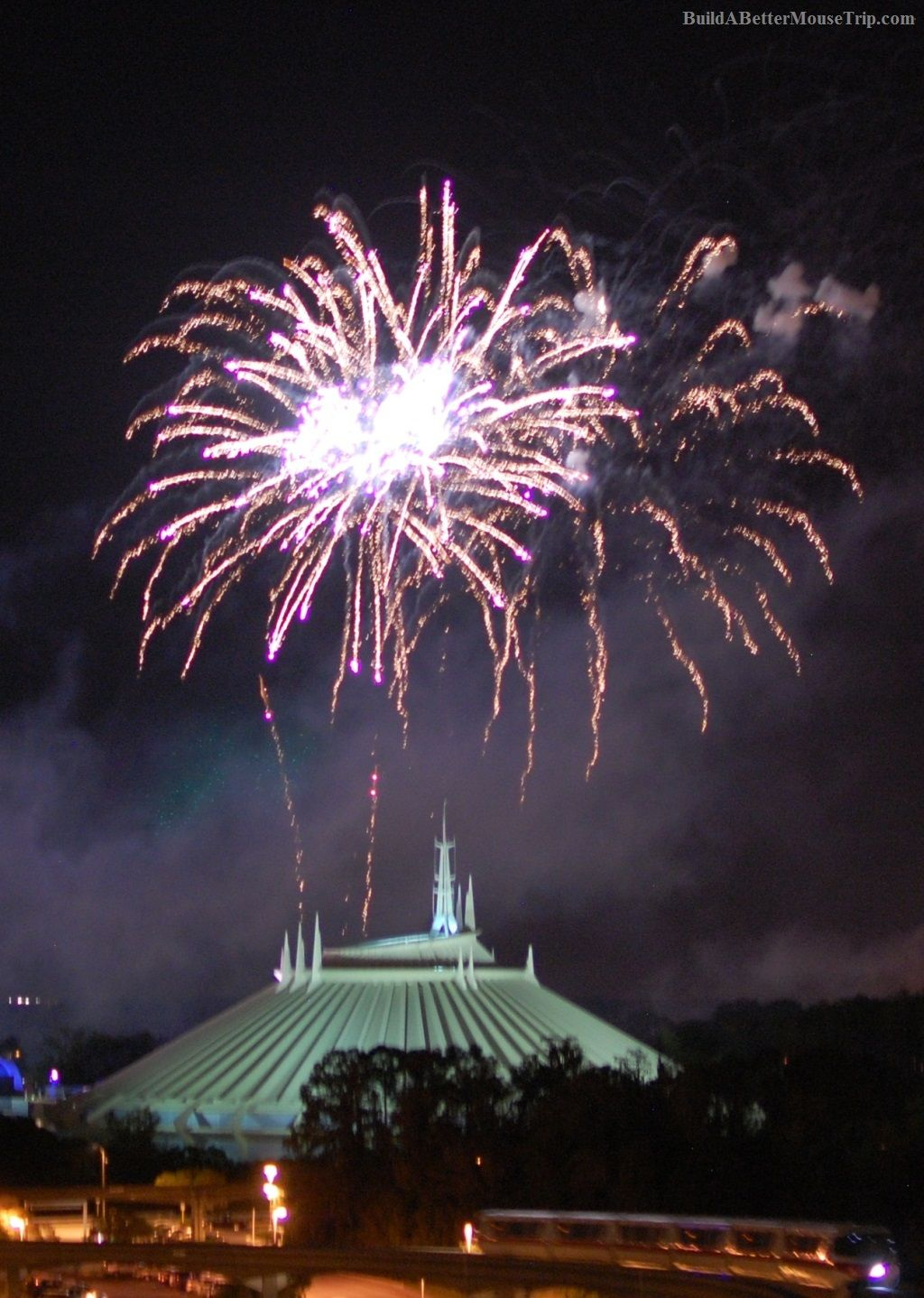 Fireworks over Space Mountain in the Magic Kingdom at Disney World.