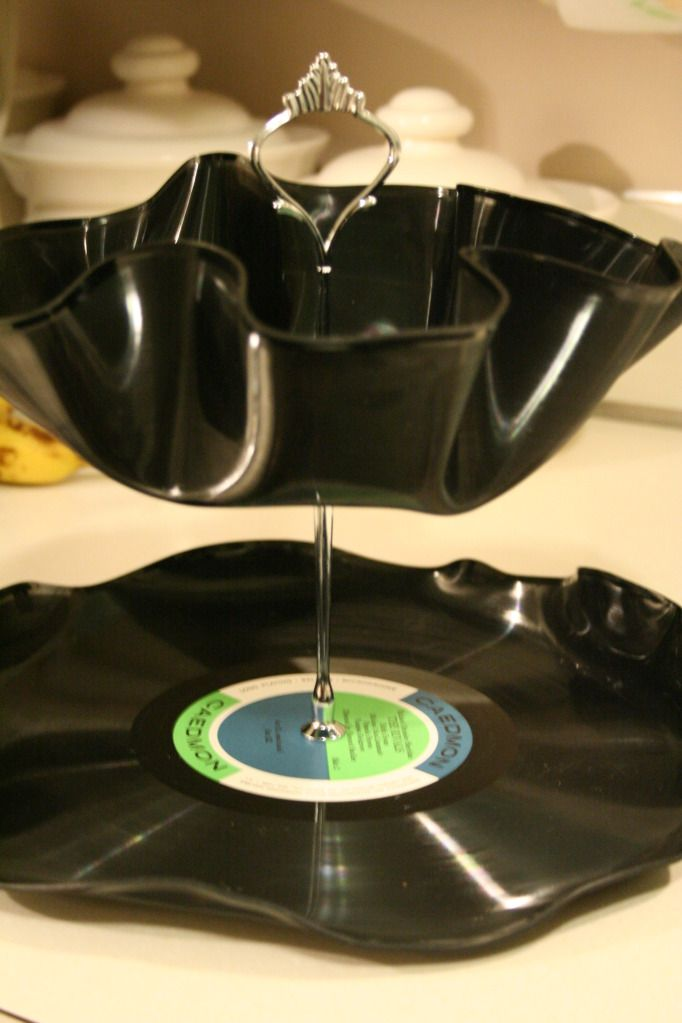 Make Your Own Tiered Trays With Old Vinyl Records Vinyl Record