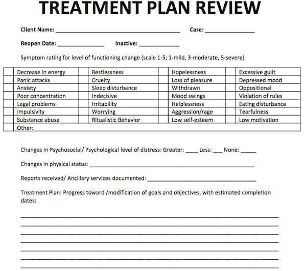 Treatment Plan Review Free Counseling Note Templates – Treatment Plan Template