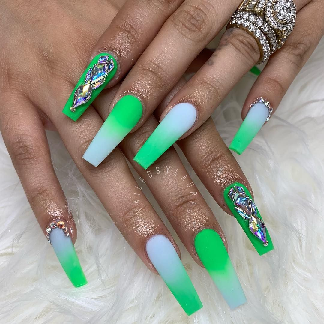 Baby Blue And Green Ombre Nails Blue Acrylic Nails Coffin Nails Designs