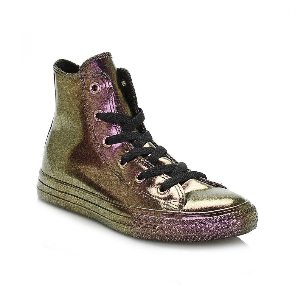 3bdb3fd9c2e1 Converse Junior Pink   Gold Chuck Taylor All Star Rubber Hi Trainers ...