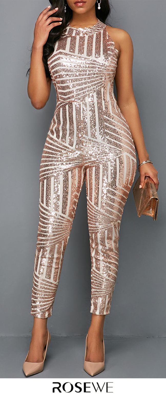 0e6ceadde0d0 Pink Metallic Round Neck Sleeveless Skinny Jumpsuit. New sign-ups get 5%  off for all first orders