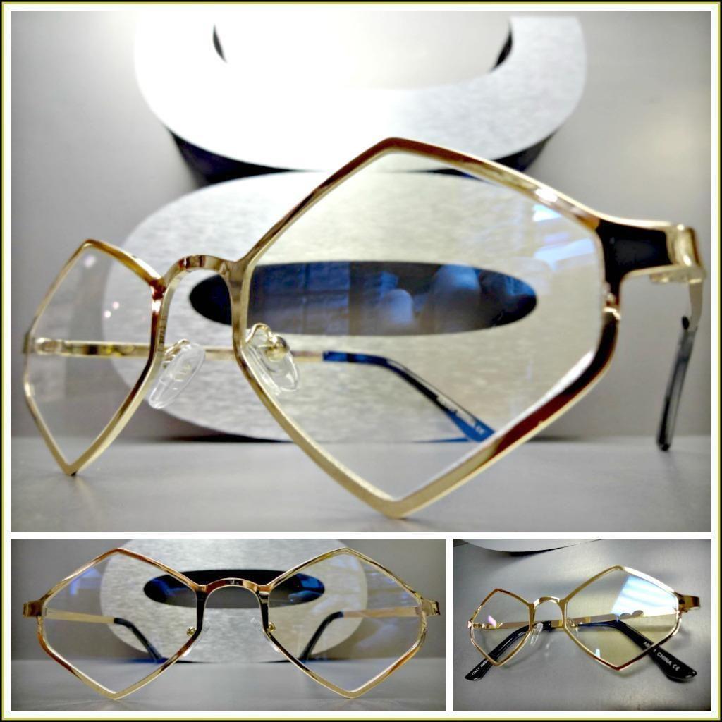 56dc3595c595 Mens Vintage Retro Style Clear Lens Eye Glasses Gold Diamond Shape Hexagon  Frame