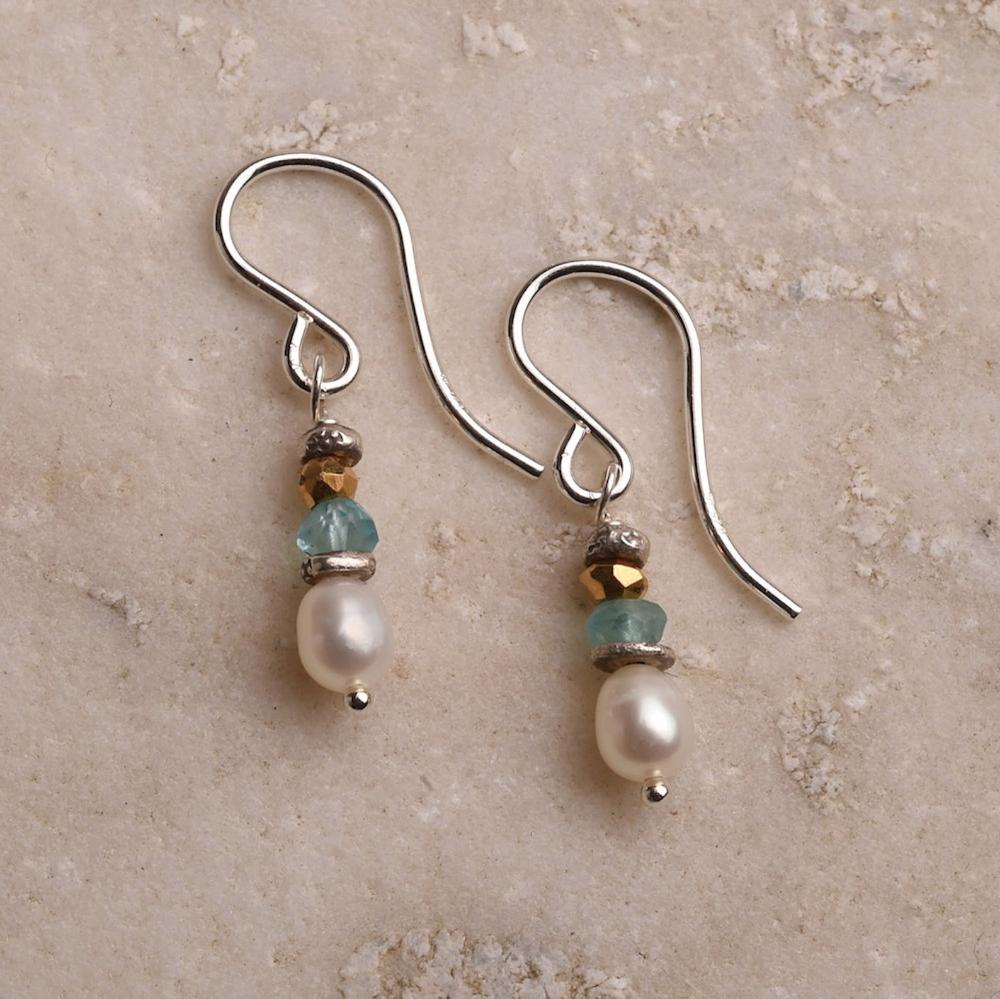 White Pearl Earrings, Sterling Silver Gemstone Earrings